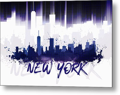 Graphic Art Nyc Skyline II - Purple Metal Print