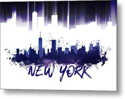 Graphic Art Nyc Skyline Purple Metal Print by Melanie Viola