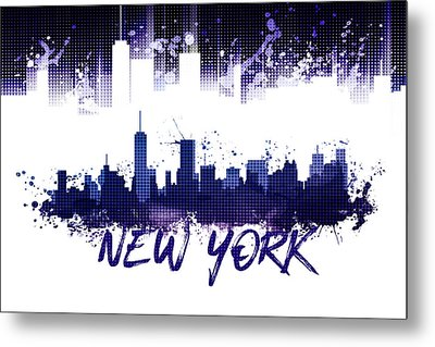 Graphic Art Nyc Skyline Splashes - Purple Metal Print by Melanie Viola