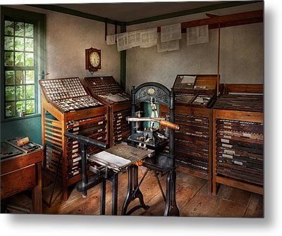 Graphic Artist - The Print Office - 1750  Metal Print by Mike Savad