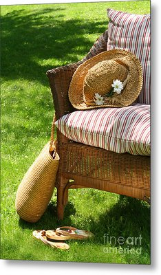 Grass Lawn With A Wicker Chair  Metal Print by Sandra Cunningham