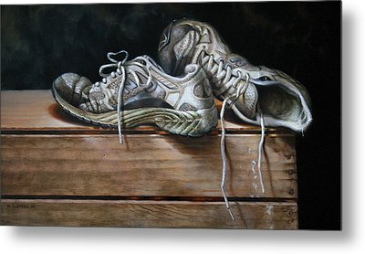 Metal Print featuring the painting Grass Stains   by William Albanese Sr
