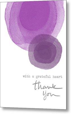Grateful Heart Thank You- Art By Linda Woods Metal Print