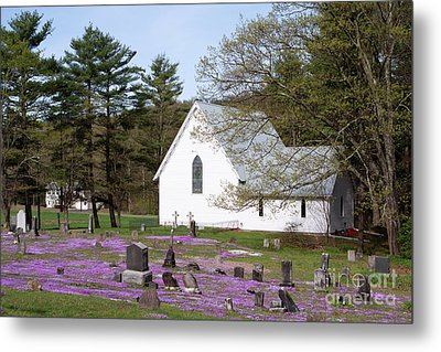 Graveyard Phlox Country Church Metal Print by John Stephens