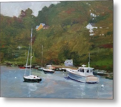 Gray Afternoon At Rockport Harbor Metal Print by Peter Salwen