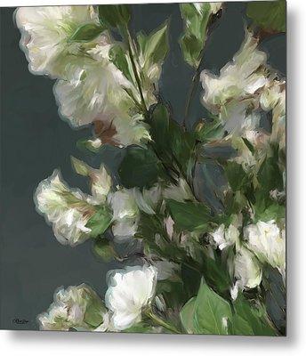 Gray Floral 09 Metal Print