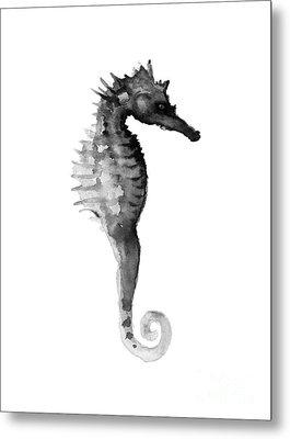 Gray Seahorse Minimalist Painting Metal Print