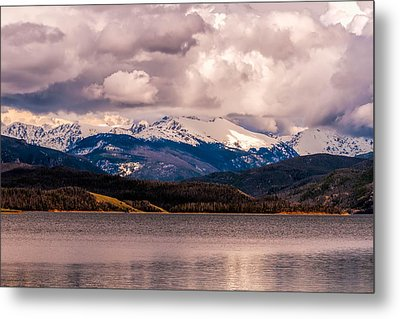 Gray Skies Over Lake Granby Metal Print