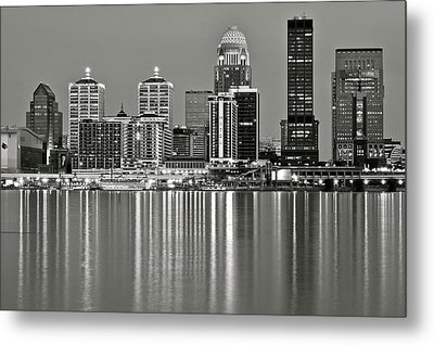 Grayscale Louisville Lights Metal Print by Frozen in Time Fine Art Photography