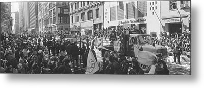 Grayscale Parade For 1998 World Series Metal Print by Panoramic Images