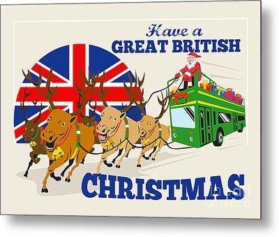 Great British Christmas Santa Reindeer Doube Decker Bus Metal Print by Aloysius Patrimonio