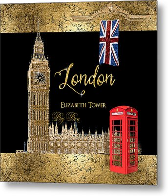 Great Cities London - Big Ben British Phone Booth Metal Print by Audrey Jeanne Roberts