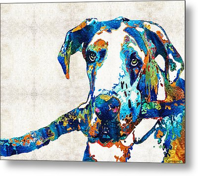 Great Dane Art - Stick With Me - By Sharon Cummings Metal Print