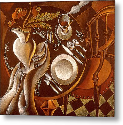 Metal Print featuring the painting Great Dining by Leon Zernitsky