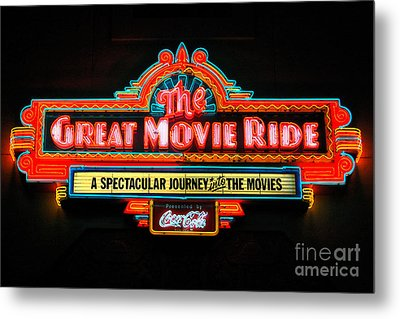 Great Movie Ride Neon Sign Hollywood Studios Walt Disney World Prints Ink Outlines Metal Print by Shawn O'Brien