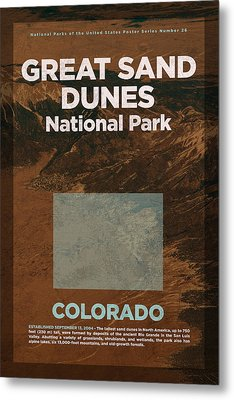 Great Sand Dunes National Park In Colorado Travel Poster Series Of National Parks Number 26 Metal Print by Design Turnpike