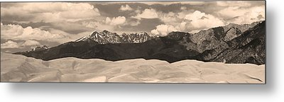 Great Sand Dunes Panorama 1 Sepia Metal Print by James BO  Insogna