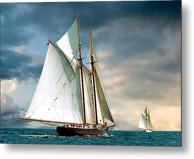 Great Schooner Race Metal Print by Fred LeBlanc