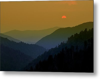 Great Smoky Mountain Sunset Metal Print by Thomas Schoeller