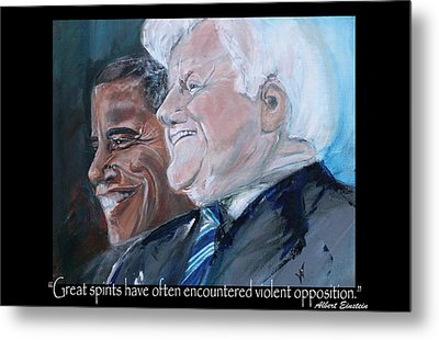 Great Spirits - Teddy And Barack Metal Print by Valerie Wolf
