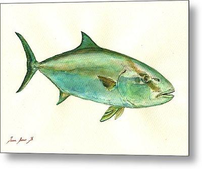 Greater Amberjack Fish Metal Print by Juan  Bosco