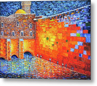 Metal Print featuring the painting Wailing Wall Greatness In The Evening Jerusalem Palette Knife Painting by Georgeta Blanaru