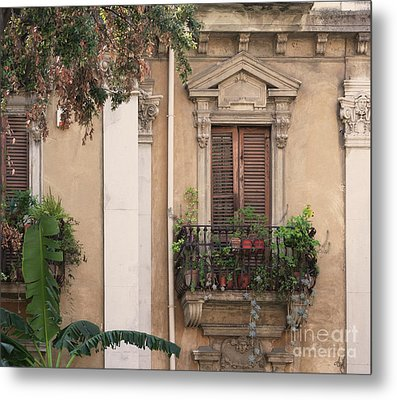 Grecian Courtyard Metal Print