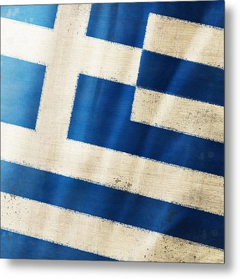 Greece Flag Metal Print
