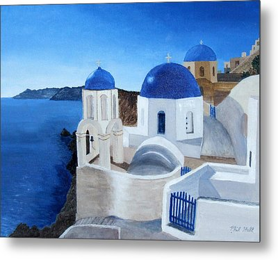 Greek Church At Santorini Metal Print by Philip Hall