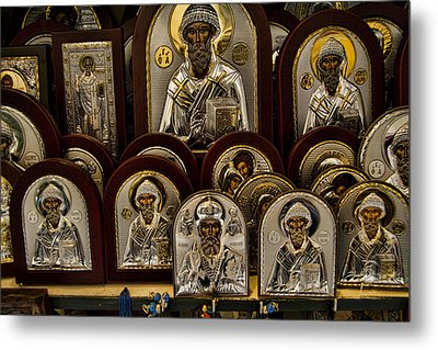 Greek Orthodox Church Icons Metal Print by David Smith
