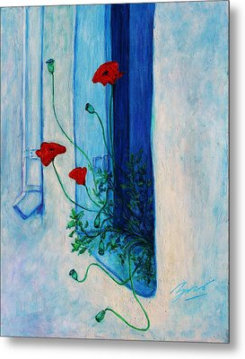 Metal Print featuring the painting Greek Poppies by Xueling Zou