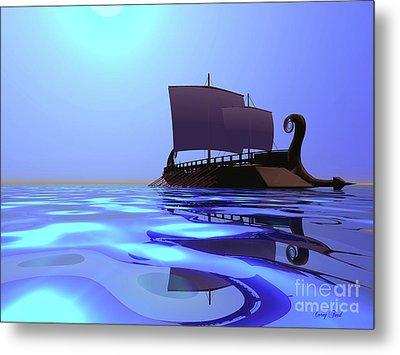 Greek Ship Metal Print by Corey Ford