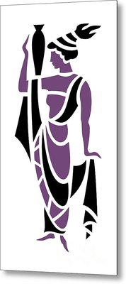 Greek Woman In Purple Metal Print by Donna Mibus