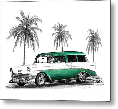 Green 56 Chevy Wagon Metal Print by Peter Piatt