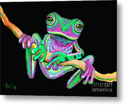 Green And Pink Frog Metal Print
