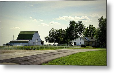 Green And White Farm Metal Print by Cricket Hackmann
