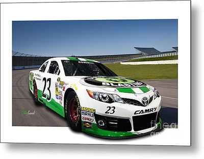 Green And White Toyota In 3d With White Frame Metal Print