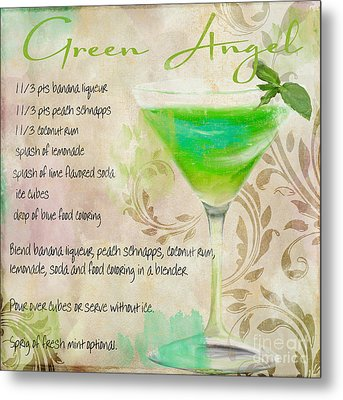 Green Angel Mixed Cocktail Recipe Sign Metal Print by Mindy Sommers