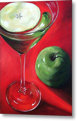 Green Apple Martini Metal Print