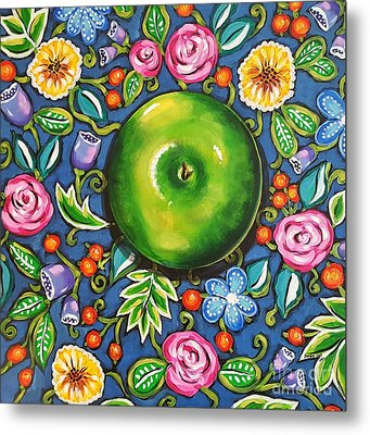 Green Apple Metal Print by Sandra Lett