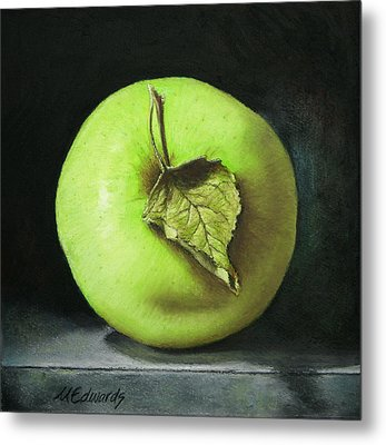 Green Apple With Leaf Metal Print by Marna Edwards Flavell