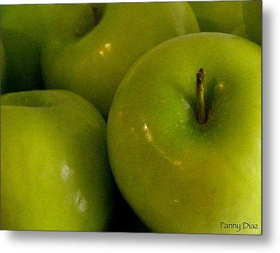 Green Apples 2 Metal Print by Fanny Diaz