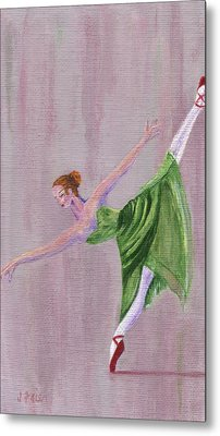 Metal Print featuring the painting Green Ballerina by Jamie Frier
