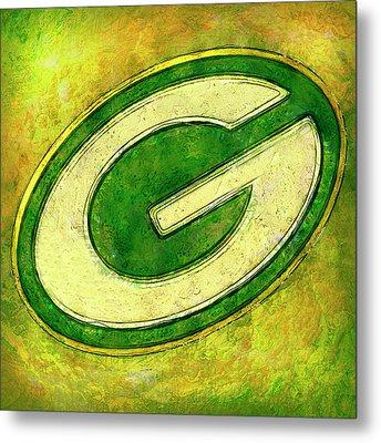 Green Bay Packers Logo Metal Print by Jack Zulli