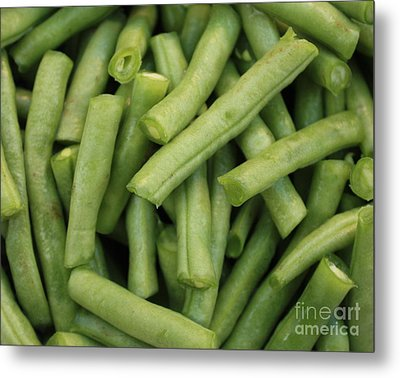 Green Beans Close-up Metal Print by Carol Groenen