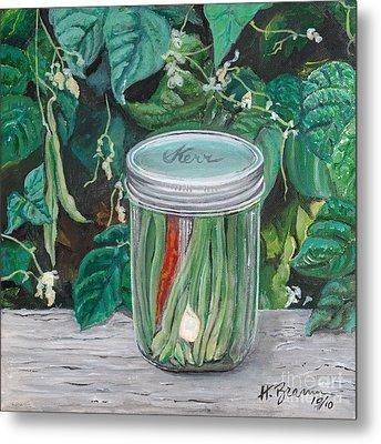 Green Beans Metal Print by Holly Bartlett Brannan