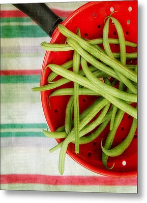 Green Beans Red Collander Metal Print by Rebecca Cozart