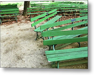 Green Benches- Fine Art Photo By Linda Woods Metal Print by Linda Woods