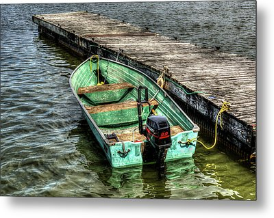 Green Boat Metal Print by Irwin Seidman