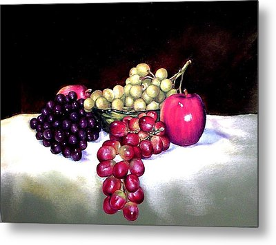 Green Bowl With Fruit Metal Print by Mahto Hogue